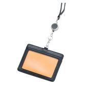 リール付きIDカードホルダー(黒/オレンジ)
